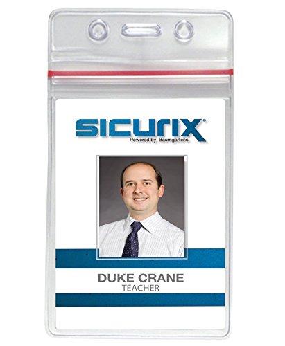 Baumgartens Plastic Badge Holder - SICURIX(R) Zip Closure Sealable ID Badge Holders, Vertical, 50 Pack, Clear