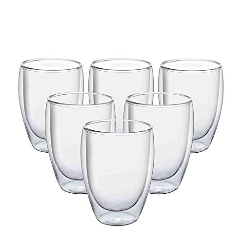Glass Coffee Mugs 12 OZ - Set of 6, Double Wall Insulated Thermal Cups Drinking Glasses For Tea/Coffee/Latte/Cappucino/Cafe/Milk, Clear (Drinking Cups Thermal)