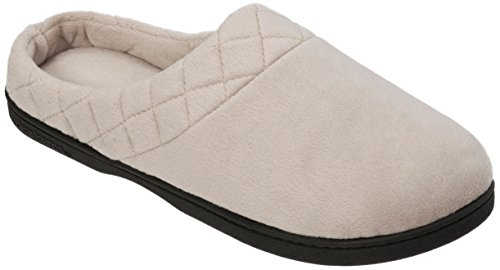 Dearfoams Womens Velour Quilted Clog Slippers (Medium, Pewter) 60106