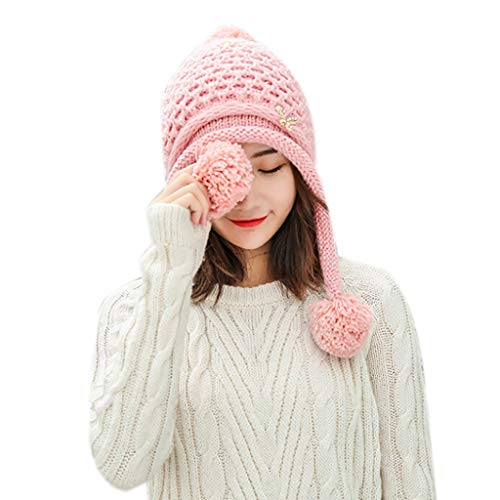 LIULIULIUWomen Solid Beanie Outdoor Crochet Knit Ball Headgear Beanie Tail Hat Cap (Pink)