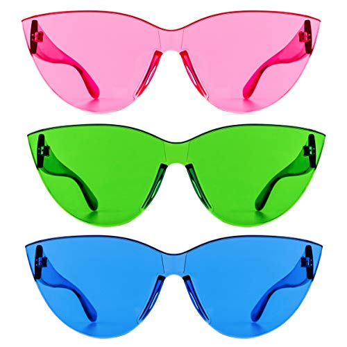 Colorful One Piece Rimless Transparent Cat Eye Sunglasses for Women Tinted Candy Colored Glasses (3099-pink+green+blue)