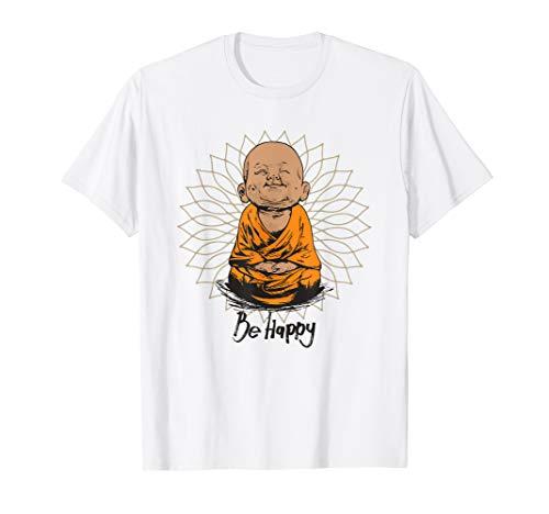 (Be Happy shirt Zen Little Buddha tshirt Mandala T-shirt gift)