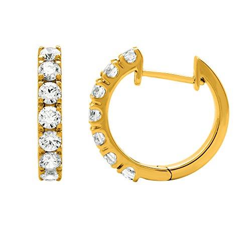 Delight Veste de 14K Diamant & Huggies Boucles d'Oreilles Créoles (si1-si2, 1carat)