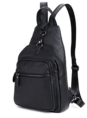 Clean Vintage Convertible Mini Backpack Purse Sling Messenger Shoulder Bag Leather Small Travel Bag (Black) Leather Mini Sling