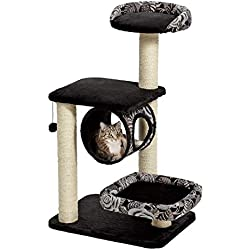 "MidWest ""Escapade"" Cat Tree / Cat Furniture, 4-Tier Cat Activity Tree w/ Sisal Wrapped Support Scratching Posts & Lounging Cat Look-Out, Black / White Pattern, Medium Cat Tree"