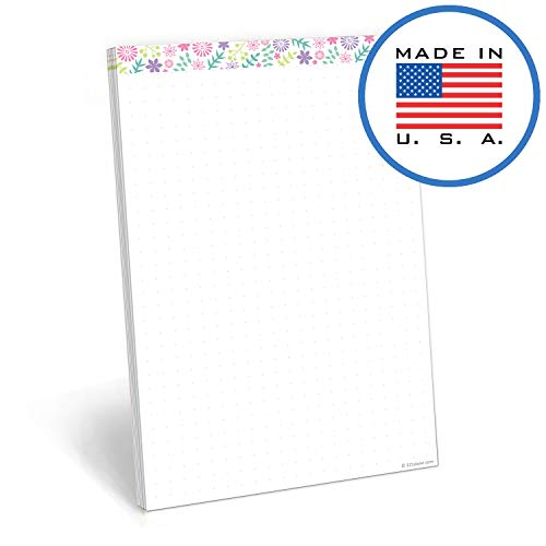 321Done Dot Grid Writing Note Pad - 50 Sheets (5.5 x 8.5 Inches) - Bullet Notepad - Thick Premium Paper - Made in USA - Pastel Flower