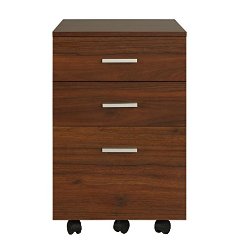 DEVAISE 3 Drawer Lateral Wood Mobile Filing Cabinet, Letter Size/A4 (Walnut)