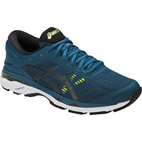 ASICS Mens Gel-Kayano 24 Running Shoe, Ink Blue/Black/Safety Yellow, 9 Medium US