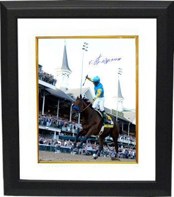 American Pharoah Signed Autograph 8x10 Photo 2015 Kentucky Derby Horse Racing Triple Crown Deluxe Custom Framed w/ Victor Espinoza- Steiner - Autographed Racing Collectibles