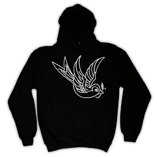 My Icon Men's Swallow Tattoo Graphic Illustration Adults Hoodie, Black, 2XL