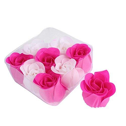 Estilo do corpo DealMux Rosa da ptala da flor Sabo Presente para o dia 9pcs Fuchsia Branca Namorados