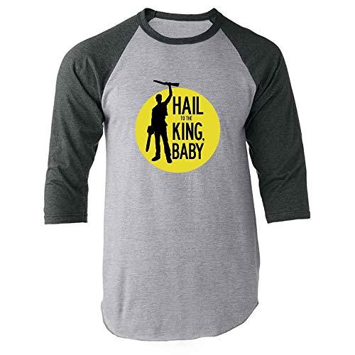 (Hail to The King Baby Horror Army Zombie Gray L Raglan Baseball Tee Shirt)