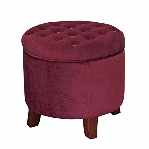 HomePop K6171-B119 Velvet Button Tufted Round Storage Ottoman with Removable Lid, 19″ x 18″, Burgundy