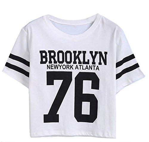 Darceil Women's Casual BROOKLYN 76 Print Short Sleeve Crop Top T-Shirt (S, White)