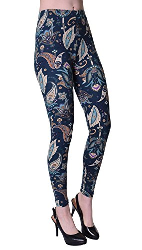 VIV Collection Plus Size Printed Brushed Ultra Soft Leggings (Planting Paisley) ()