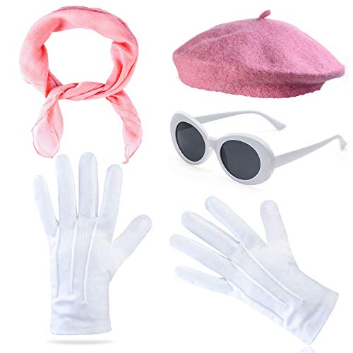 Beelittle Womens Costume Accessories - French Beret Hat,50s Sheer Chiffon Scarf,Deluxe Theatrical Gloves,White Clout Goggles Retro Oval Sunglasses (Pink)]()