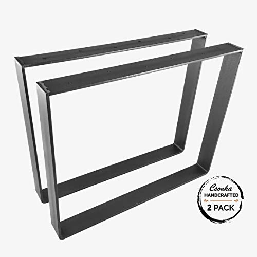 "2 Pack - (2"" Wide - 1/4"" Thick Metal) (Size Range: 4-25""L x 4-25""H) Square Metal Legs, Table Legs, Bench Legs, Legs, Industrial Modern, DIY"