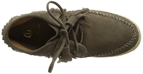La Strada Taupe Coloured Suede Boots With Frings - Botines Mujer Gris