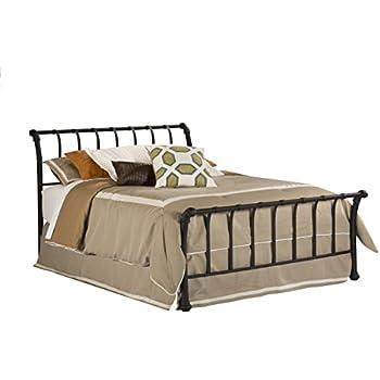 Hillsdale Furniture 1655BQR Janis Metal Sleigh Bed Set With Rails Queen Textured Black