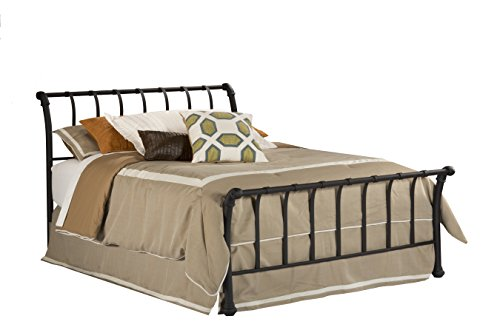 (Hillsdale Furniture 1654BFR Janis Metal Sleigh Bed Set with Rails, Full, Textured Black)