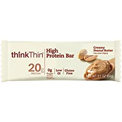 thinkThin High Protein Bars, Creamy Peanut Butter, 2.1 oz Bar (10 Count)