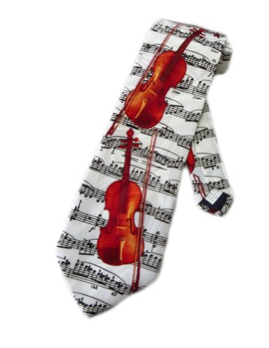 Steven Harris Mens Violin Sheet Music Necktie - White - One Size Neck Tie (Harris Violin)