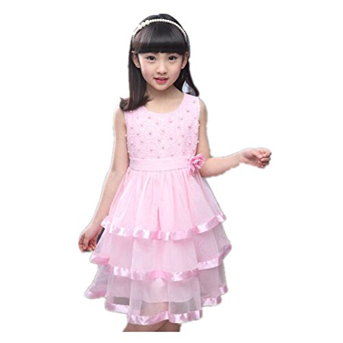 [FTSUCQ Girls Lace Pearl Tiered Dress,Pink 140] (Hottest 12 Year Old Girls)