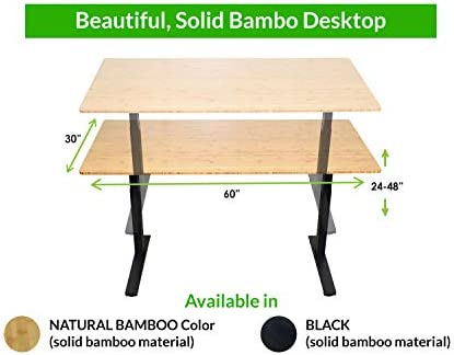 RISE UP dual motor electric standing desk 60×30″ bamboo desktop premium ergonomic adjustable height sit stand up home office computer desk table motorized powered modern furniture small standup