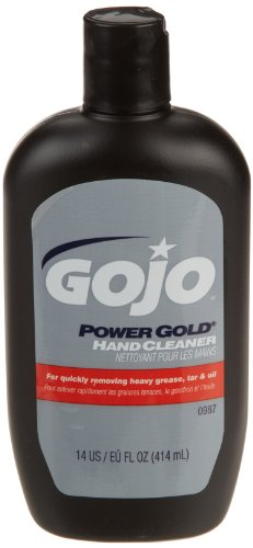 GOJO POWER GOLD Hand Cleaner, Crème-Style, 14 fl oz Fast Acting Cleaner Flip Cap Squeeze Bottles (Case of 12) - 0987-12