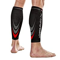 NV Compression 365 Manchons de compression pour les mollets - Noir - Compression Sports Calf Sleeves - Black - For Running, Cycling, Triathlon, Crossfit, Gym