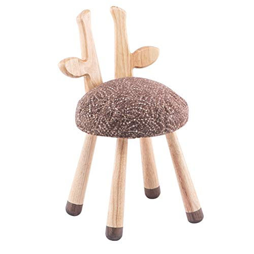MXYXN Footstool Small Bench Home Wooden Creative Baby Dining Chair Children Learning Back Ears Stool Solid Wood Small Shoe Low Cartoon Animal Thanksgiving Easter Gift (Color : B) ()