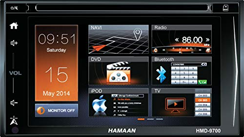Hamaan HMD-9700 6.5″ Touch Screen DVD Player With GPS navigation, FM Radio, Bluetooth, SD Card Slot, USB + Wireless Remote