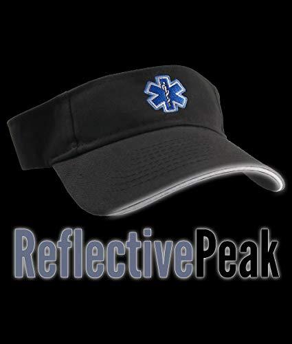 - Paramedic Blue Star of Life Caduceus EMT EMS Embroidery on an Adjustable 3M Scotchlite Reflective Peak Black Brushed Cotton Visor Summer Hat