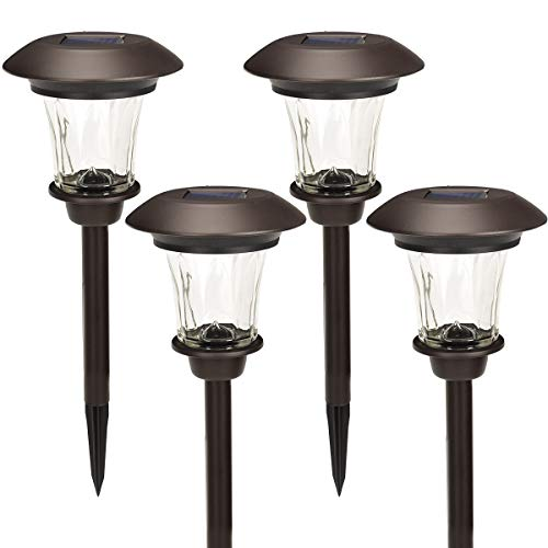 GIGALUMI Solar Path Lights, Set of 4, Bronze, with Glass Lens, Rechargeable Battery, and Extra-Bright Automatic LED for Patio, Yard, Lawn and Garden.(Warm White)