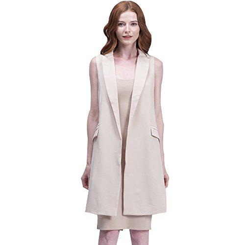 BELLA PHILOSOPHY Womens Blazer Vest Jackets outerwear with Long Pockets Turn-down Collar Open Stitch Sleeveless Pantone