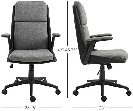 Amazon Com Kovalenthor Home Office Chair Desk Chair Mesh Computer Chair With Lumbar Support Flip Up Arms Modern Task Chair Adjustable Swivel Rolling Executive Mid Back Ergonomic Chair For Adults Kitchen Dining