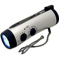 Linterna de 5-LED Dynamo con manivela de emergencia Kaito KA404W con radio meteorológica AM /FM /NOAA con cargador de teléfono celular y batería recargable de litio incorporada