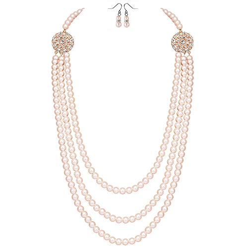 BABEYOND 1920s Gatsby Pearl Necklace Vintage Bridal Pearl Necklace Earrings Jewelry Set Multilayer Imitation Pearl Necklace with Brooch (Style2-Rose Gold) ()