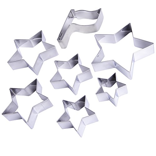 Flag Stars Cookie Cutter Set - 7 Piece - 1 Flag and 6 stars–Fun for July 4th,Independence Day Cooking