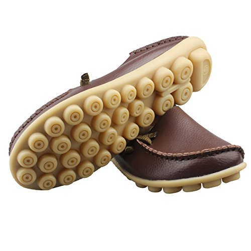 Fisca Leather Women's Moccasins Loafer Flat Shoes Coffee MqvNwFmD95