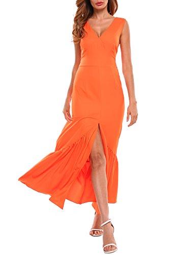ACEVOG Women Double V-Neck Sleeveless Pleated Hem Front Split Long Maxi Dress(OR,XL)