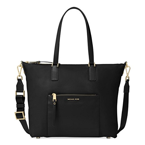 MICHAEL Michael Kors Womens Ariana Signature Tote Handbag Black Large