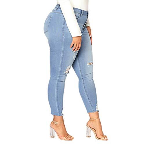 dchiquet Femme Jeans Slim Crayon Pants Taille Skinny Bleu Pantalons Pantalons Automne 2018 Stretch Taille Jeans Chic Moulant Haute fit Jeans Grande trou Clair Hiver Femme Trousers Dames rtro Trou Koly 7cPR8P