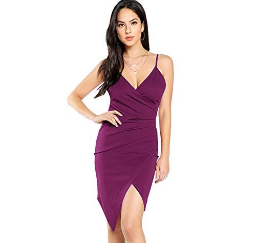 - SheIn Women's Sexy V Neck Spaghetti Strap Ruched Overlap Bodycon Dress Medium Purple