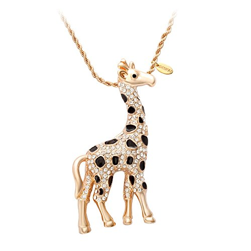SENFAI Giraffe Deer Pretty Black Enamel Crystal Sweater
