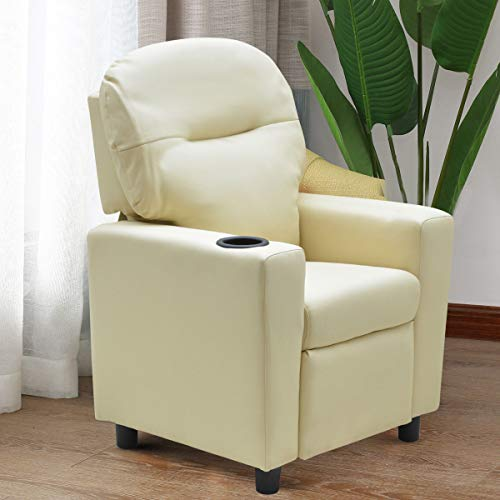 Costzon Contemporary Kids Recliner, PU Leather Lounge Furniture for Boys & Girls W/Cup Holder, Children Sofa Chair (Beige) by Costzon (Image #6)