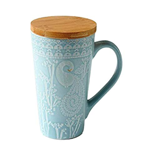 - ufengke Rural Hand Painting Embossment Ceramic Mug, Large Capacity Milk Tea Cup with Wooden Lid, Gift Mugs, Embossed Swans and Flowers, 480ml - Blue