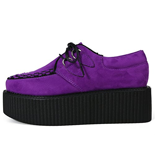 Violet Cuir Creeper Roseg Lacets Punk Plateaforme Chaussures Oxfords Femmes Gothique zCzxYwPq
