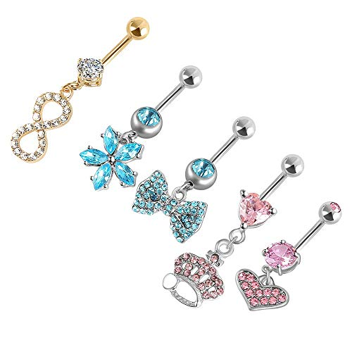 HuayoRong 5Pcs 14G Belly Button Rings Dangle Surgical Steel for Women Navel Rings Belly Rings Dangle Curved Barbell Body Jewelry Piercing (Silvery1 Colorful gems 14G=1.6mm) ()