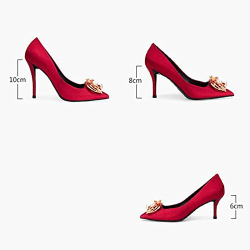 Mujer Tamaño 5 Altos UK3 YIXINY de F338 Zapatos Seda Boda Talón Perla EU36 Puntiagudo 5 Solo Color Tacones Boca Rojo baja 8cm tacón Zapatos PU CN35 10cm Fino wqB0qU